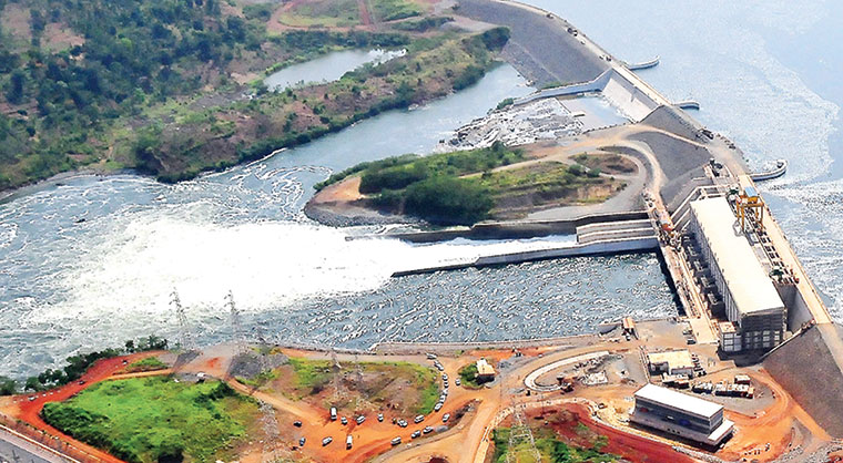 An aerial view of the Bujagali hydropower dam