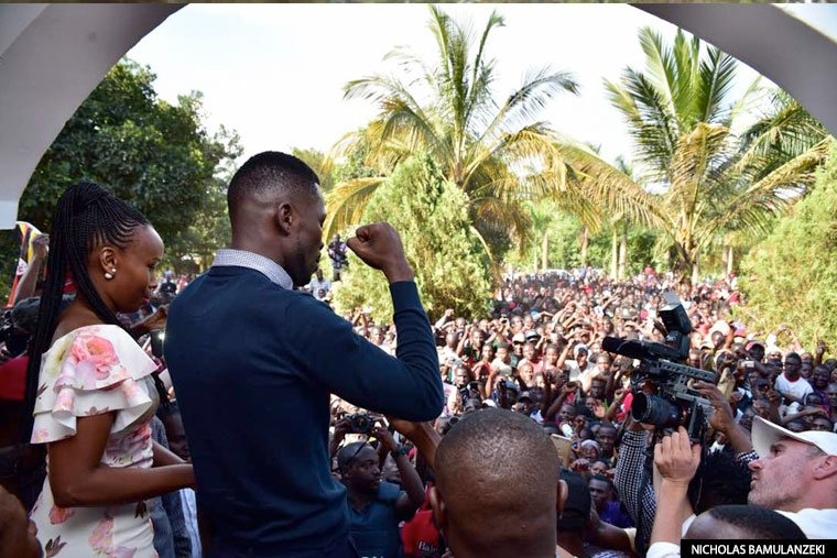 Bobi Wine addressing his supporters