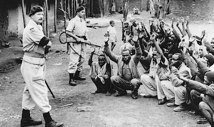 British colonial soldiers guard suspected Mau Mau collaborators. Operation Legacy sought to hide similar embarrassing documents