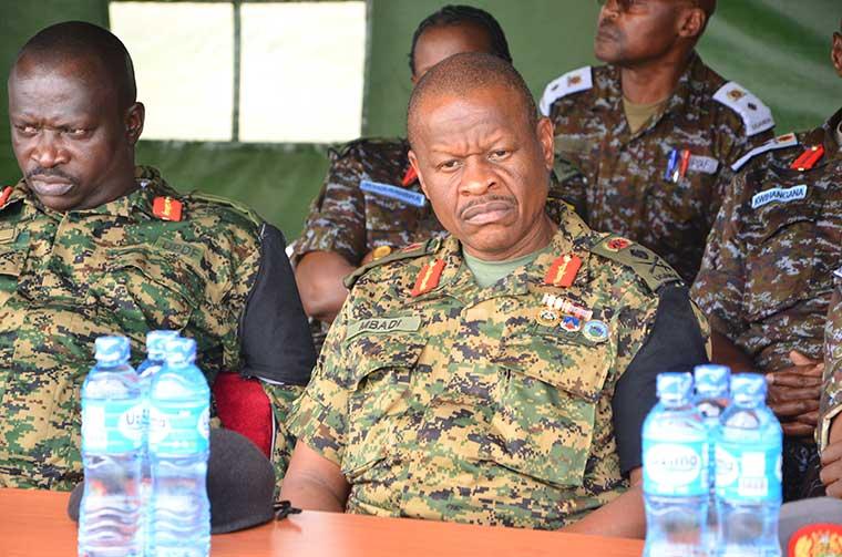 Maj Gen Peter Elwelu and Lt. Gen Wilson Mbadi