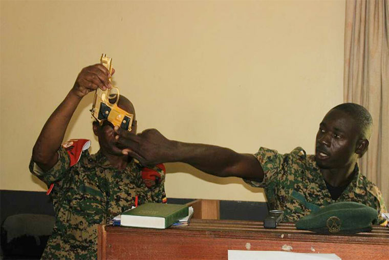 The gold-coated pistol that Kitatta was allegedly found with