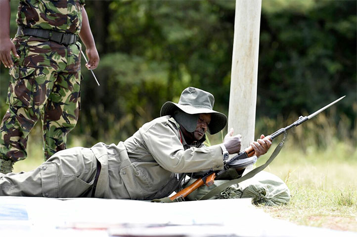 President Yoweri Museveni with his gun