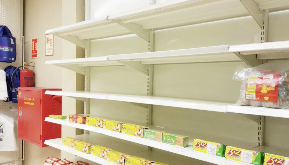 Empty shelves in a supermarket