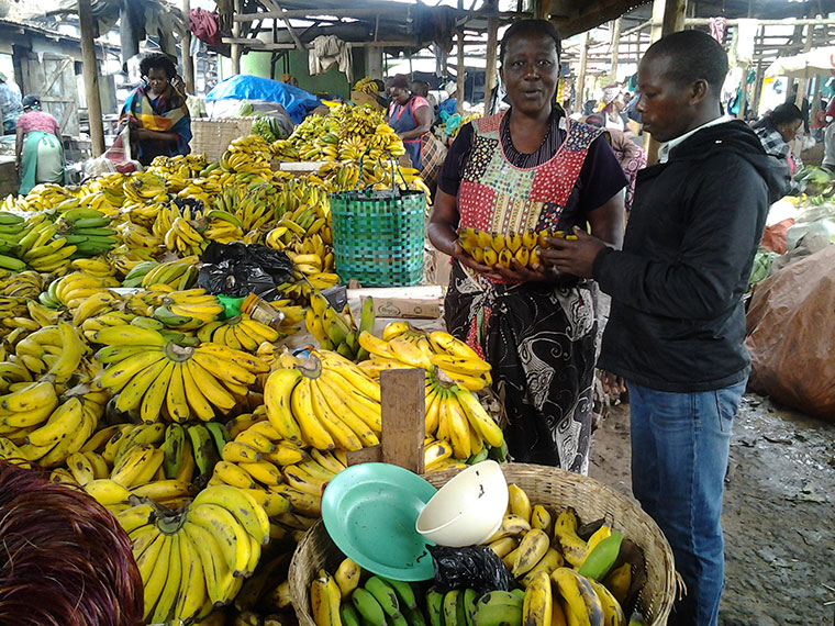 Vendors selling bananas in Kalerwe market