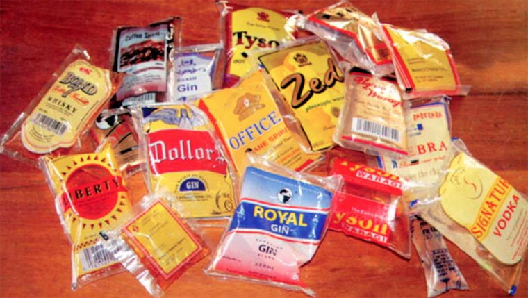 Some of the waragi sachets sold in Uganda. Photo: ugandavanguard.com