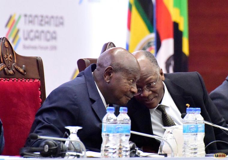 John Pombe Magufuli with Museveni