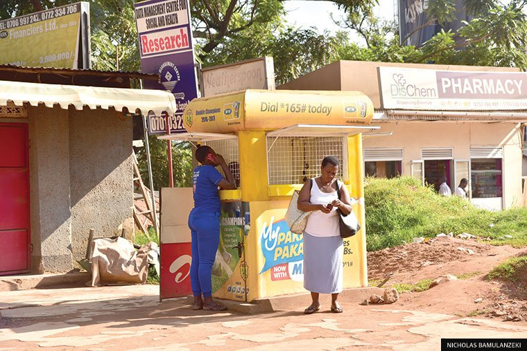Mobile money customers transacting