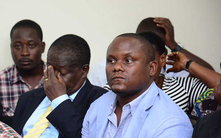 Apollo Senkeeto (R) who was sentenced to 10 years in prison is now out on bail