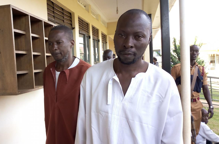 Hamuza Mwebe and Abubaker Kalungi, the key suspects in the murder of Muhammad Kirumira