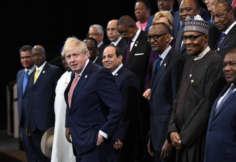UK Prime Minister Boris Johnson in a group photo with African leaders
