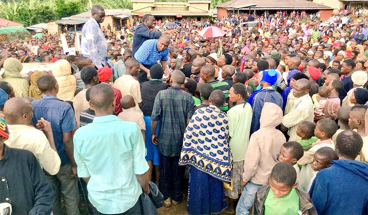 FDC leaders addressing residents in Bududa