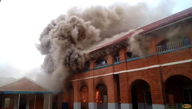Smoke bellowing out of the girls dormitory