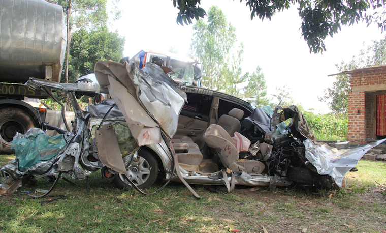 Wreckage of what was left of the Premio vehicle