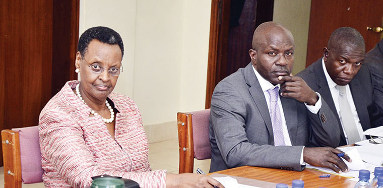Education minister Janet Museveni with PS Alex Kakooza