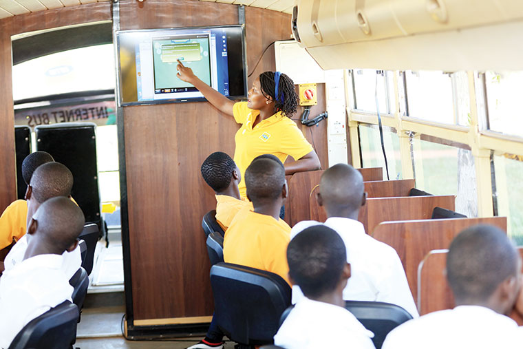 MTN sta  take learners of Malongo Ark Peas HS through ICT lessons inside the MTN customised smart bus