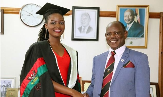 VC Prof Barnabas Nawangwe with Quiin Abenakyo after being awarded her degree