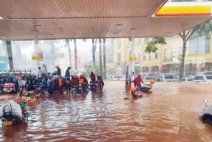 A flooded petrol station