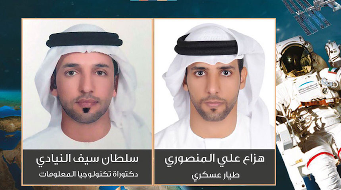 UAE astronauts Sultan Saif Al Niadi (left) and Haza Ali Al Mansouri