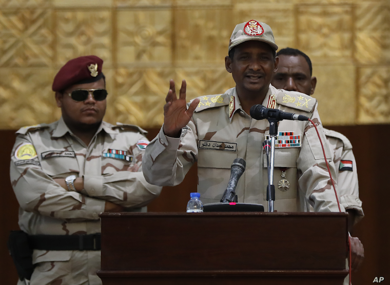 Sudanese Gen. Mohammed Hamdan Dagalo, the deputy head of the military council