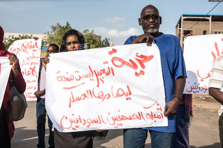 Khartoum journalists protest for press freedom in Sudan during sit-in