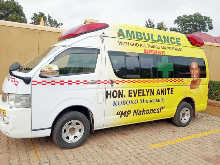 Evelyn Anite delivered this ambulance to Koboko municipality. The author believes it is better to create a health facility