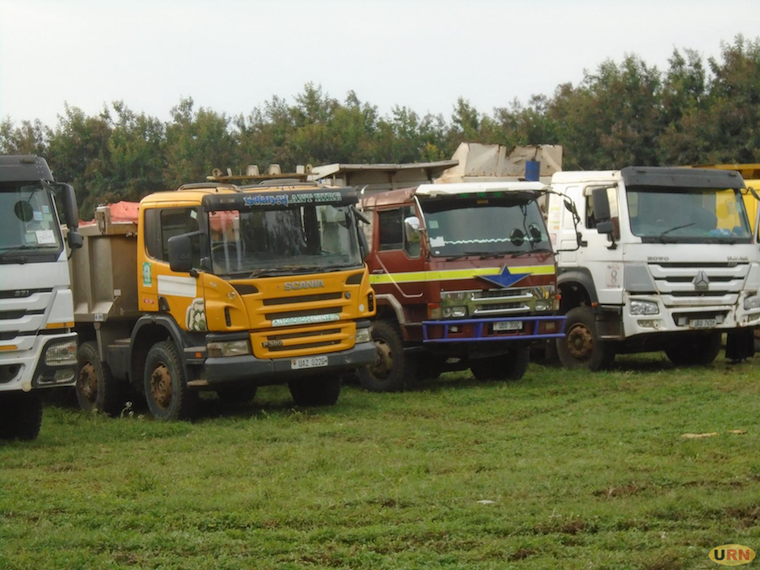Impounded trucks transporting limestone to Tororo Cement at Moroto Boma Ground