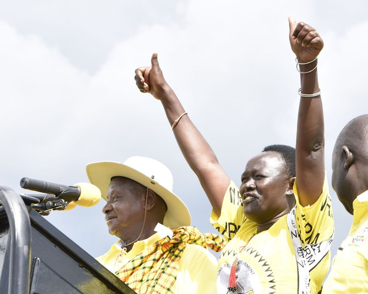 Rose Lilly Akello with President Museveni after winning a by-election in 2017