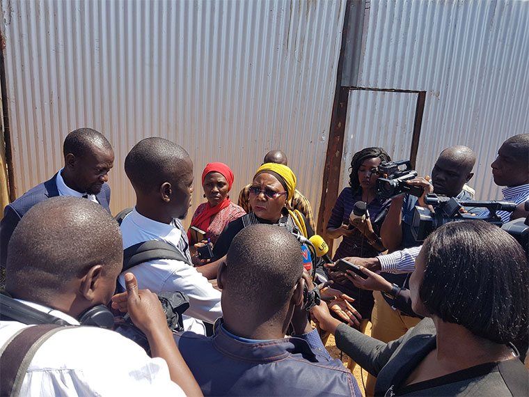 National Economy committee chairperson addressing the media after being blocked from accessing Lubowa hospital construction site