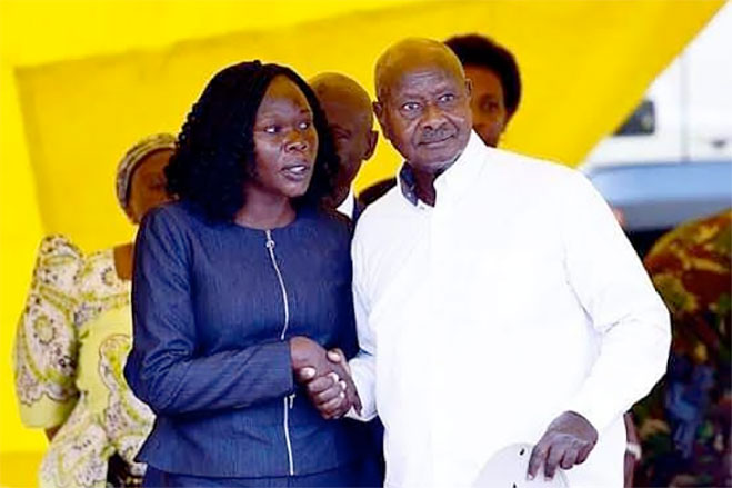 Evelyn Anite with President Yoweri Museveni earlier