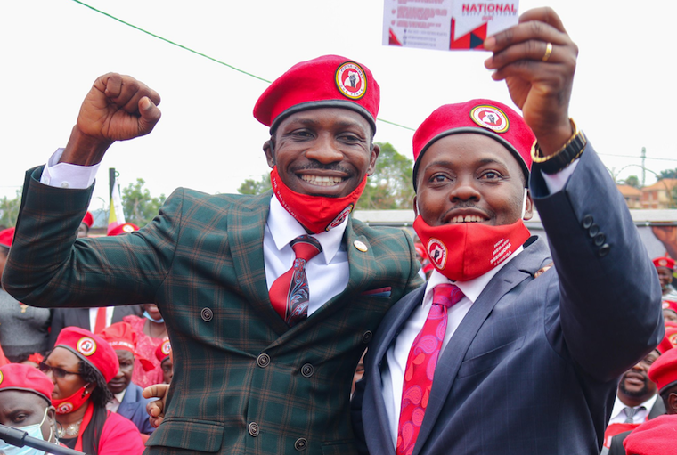 Busiro East MP Medard Lubega Sseggona with NUP president Robert Kyagulanyi