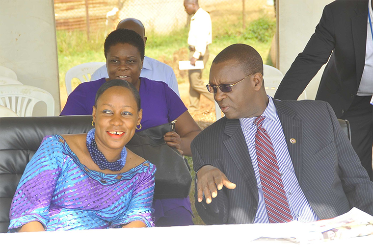 Pius Bigirimana with Minister of State for Youth and Children Affairs Nakiwala Kiyingi
