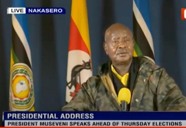 A screen grab of Museveni's address