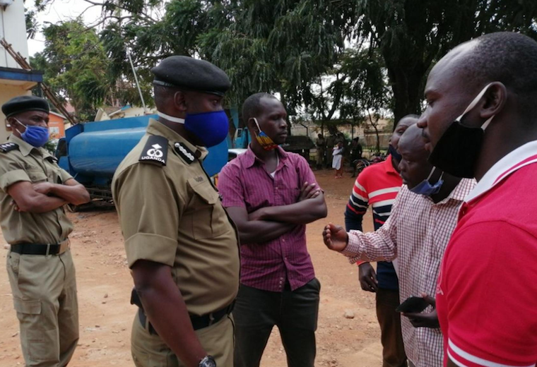 Boda boda cyclists engage with police in Masaka after the death of their colleague