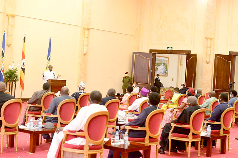 President Yoweri Museveni addressing clergy at State House recently