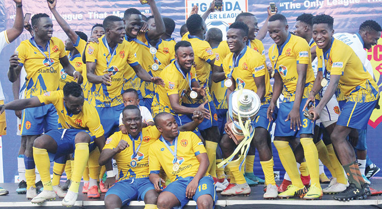 CHAMPIONS: KCCA players celebrate  after being crowned StarTimes Uganda Premier League Champions on May 4