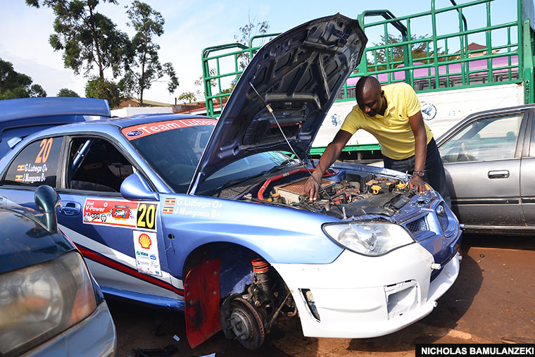 Godfrey Lubega checks on his car before a previous rally. He is one of the drivers confirmed for participation in the SMC rally next weekend