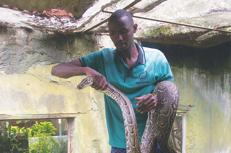 Lawrence Lutaaya with a snake at the Reptile Park