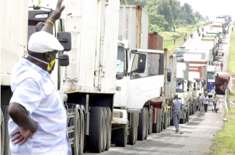 Traffic jam at the Kenya-Uganda border as truck drivers undergo Covid-19 tests. Ugandans spent Shs 63bn on imports of edible vegetables, especially from Kenya